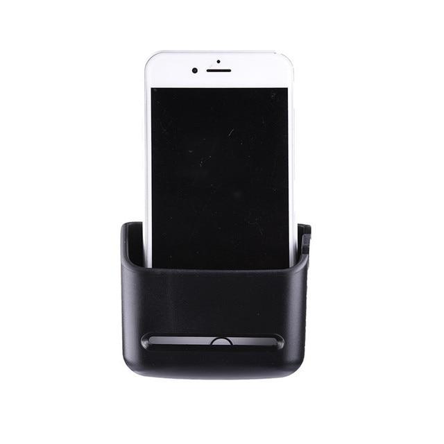 Black Car Phone Holder Car Organizer Storage Box Self Stick Automobile Case Shelf for MP3/MP4/Mobile Phone