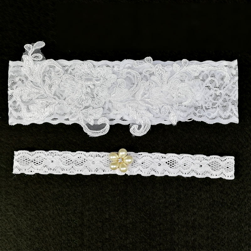 Wedding Garter Women White Embroidery Floral Wedding Garters For Bride Lady Lace/rubber Band Bridal Leg Garters 1pc/2pcs Wg004 And To Have A Long Life. Underwear & Sleepwears