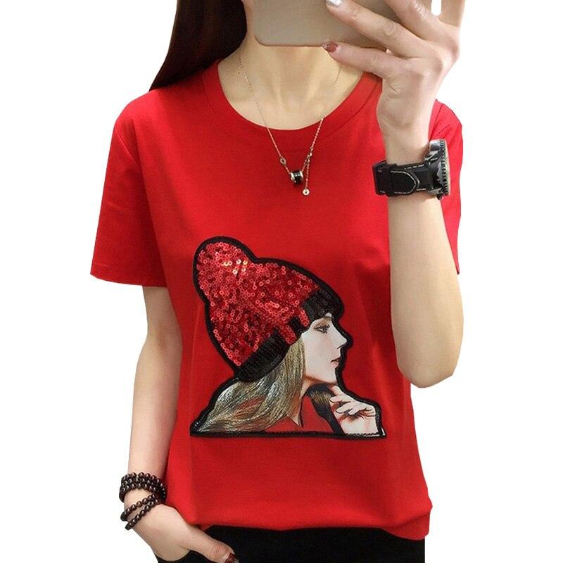 Shintimes 2019 Fashion Sequin Girl T-shirt Cotton Short Sleeve Women Tshirts Summer Casual Harajuku T Shirt Femme Top Plus Size