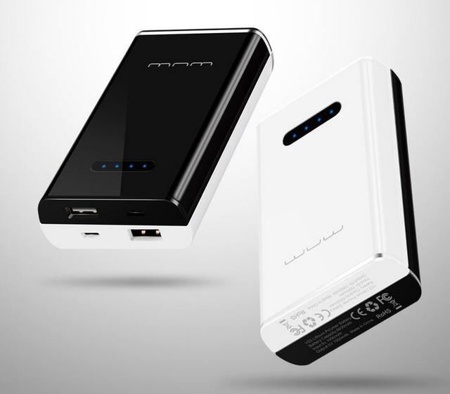 2 em 1 12000 mAh Carregador de Bateria Portátil USB Power Bank Carregador de Bateria Para Telefone inteligente Preto e Branco