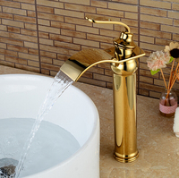 New arrival waterfall faucet bathroom basin faucet gold and oil rubbed bronze sink faucet deck mounted sink mixer