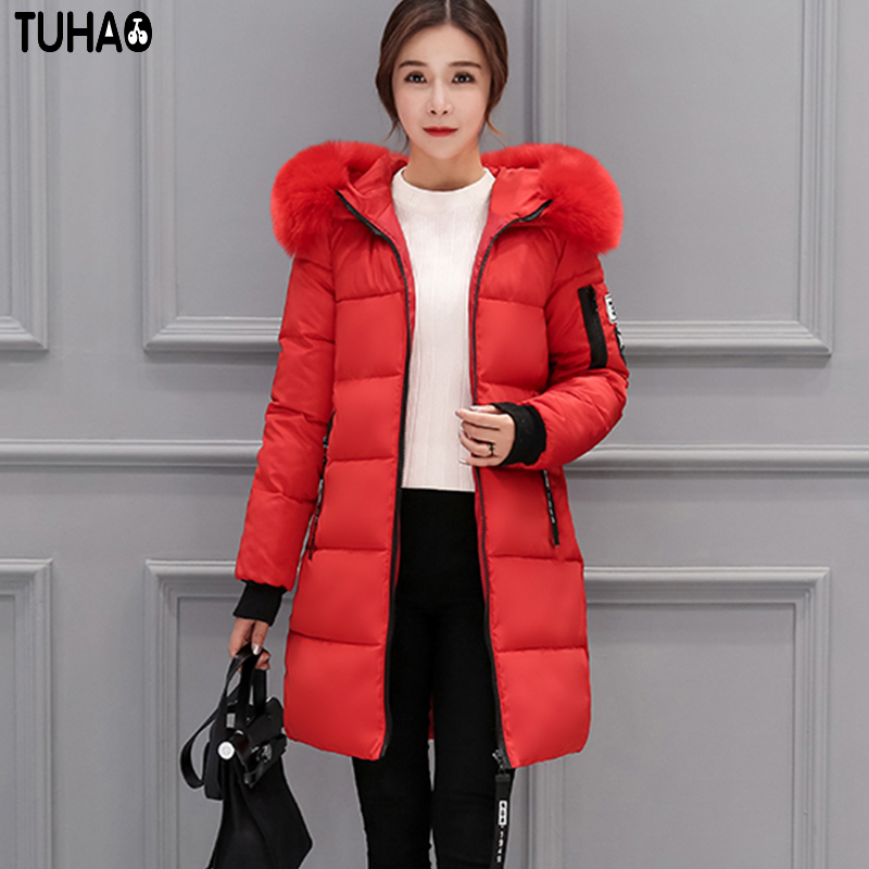 TUHAO 2017 New Women Long Winter Slim Jacket Thick Warm Cotton Coat Pure Color Fur Hooded Fashion Outwear Plus Size LW21 new fashion winter jacket women fur collar hooded jacket warm thick coat large size slim for women outwear parka women g2786
