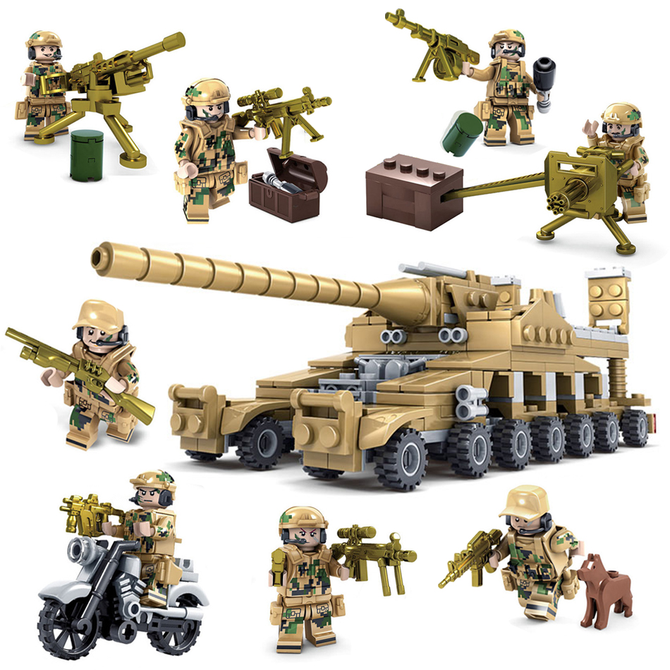 Military field soldier Army Vehicle 16 Assembled 1 Super Tank Building Blocks set Compatible legoed weapon Toys for Children boy цена
