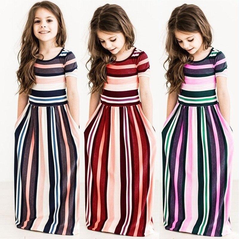 5 Colors Summer Kids Girls Dress Striped Children Summer Short Sleeve Beach Boho Long Maxi Dress Sundress Girls Clothing 2-10Y