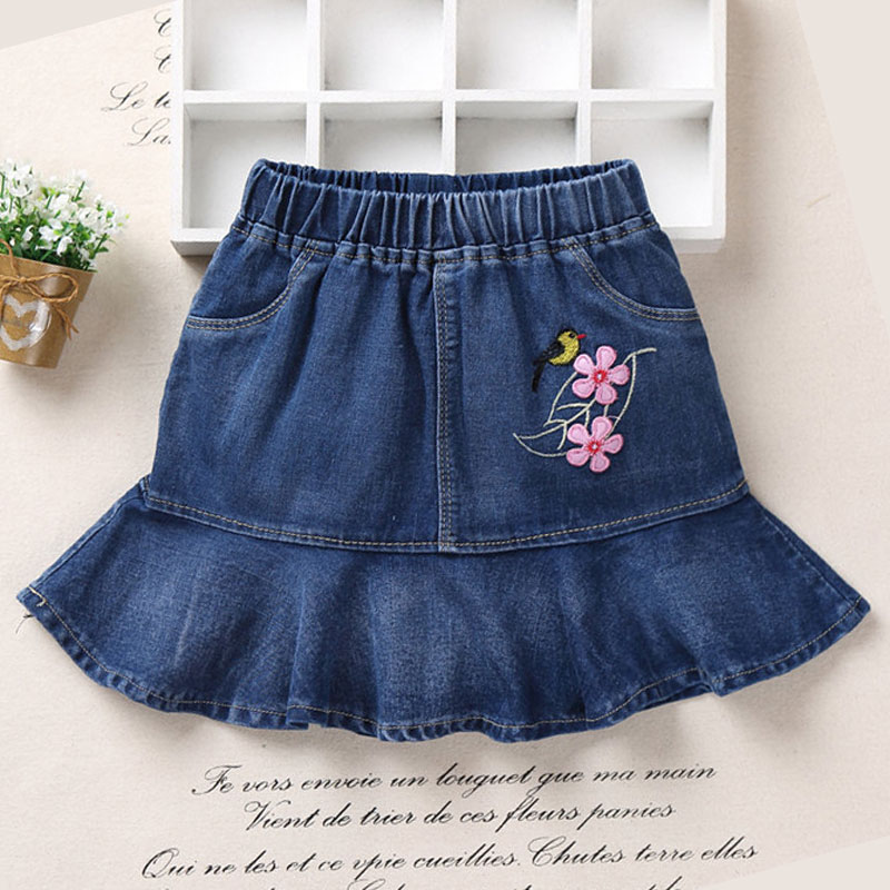 New Baby Girls Clothing Tutu Denim Skirt Casual Children Skirts Embroidered Birds And Flowers For Kids Girl Jeans skirt