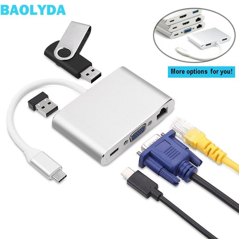 Baolyda USB C Naar HDMI 4 K VGA Adapter Thunderbolt USB Type C naar VGA HDMI Video Converter voor Macbook /Dell XPS 13/Matebook Laptops-in Adapter type C van Consumentenelektronica op title=