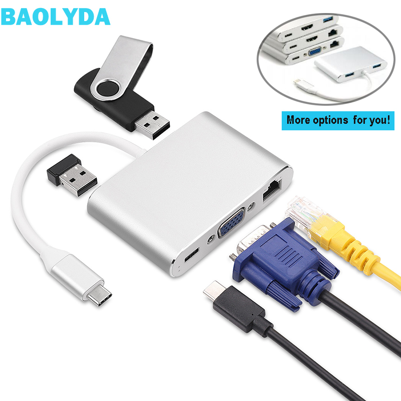 Baolyda USB C To HDMI 4K VGA Adapter Thunderbolt USB Type C to VGA HDMI Video Converter for Macbook/Dell XPS 13/Matebook Laptops|Type-C Adapter| |  - title=