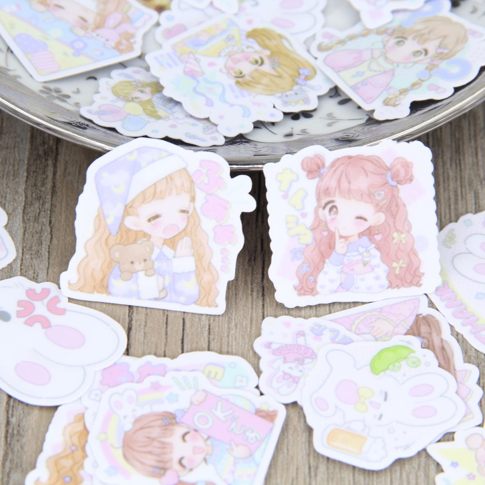 40pcs Self-made Cartoon Cute Girl Lady Scrapbooking Stickers Women Decorative Sticker DIY Craft Photo Albums Decals Diary Deco