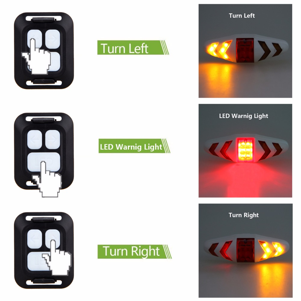 Smart Remote Control Bike Rear Lamp USB Rechargeable Bicycle Taillight Wireless Safety Waring Turning Control Signal Light in Bicycle Light from Sports Entertainment