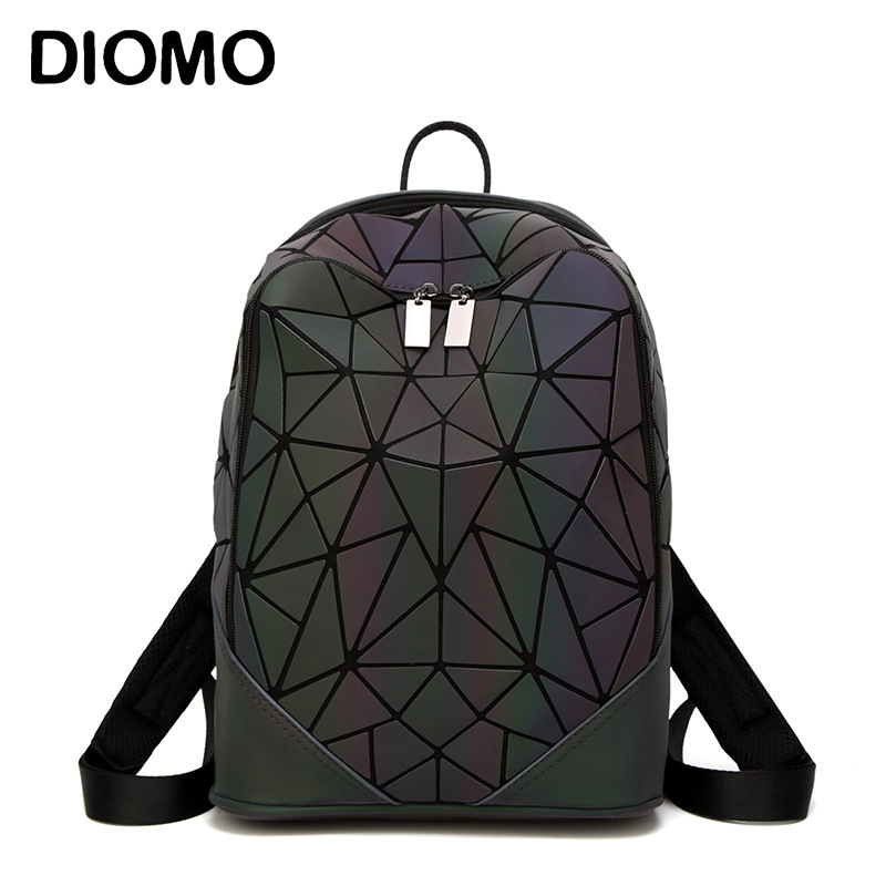 Diomo New Luminous Irregular Triangle Sequin Backpack For Women Fashionable Rucksack Female Backbag Korean