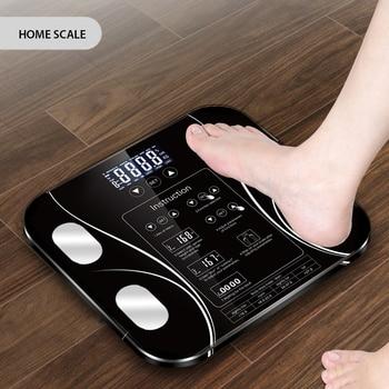 AIWILL balances de salle de bain écran LED graisse corporelle balance de poids électronique analyze de la Composition corporelle balance de santé maison intelligente