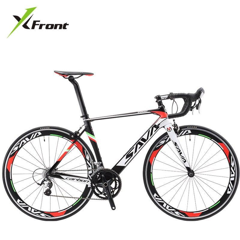 Original x-front marca full fibra de carbono bicicleta de carretera 18 20 22 velocidad 700cc * 23C bicicleta de carreras blanco y negro de la bicicleta