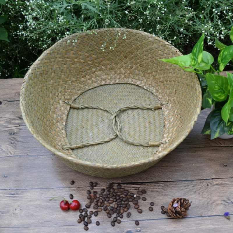 Rotan Keranjang Lipat Rumput Laut Keranjang Anyaman Kotor Binatu Penyimpanan Keranjang Penyimpanan Rumah Dekorasi Sederhana Organizer Taman Pot
