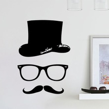 Free Shipping Cheap Hat glass mustache wall decal vinyl 28x39cm home decor mural study room stickers A-7
