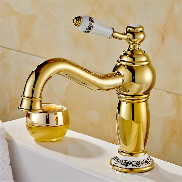 Free Shipping High End Bathroom Faucet Copper Golden Grifos Para Lavabos Luxury Gold Faucets