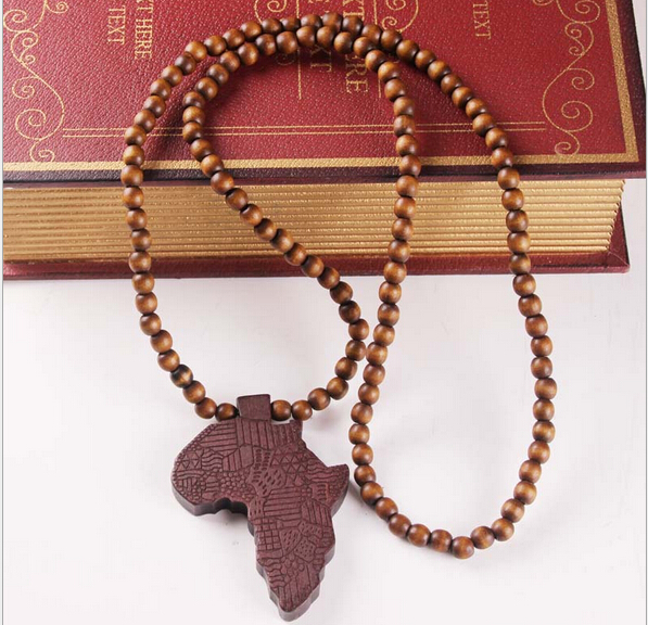 Africa map wood pendant necklace new fashion personality 4 colors