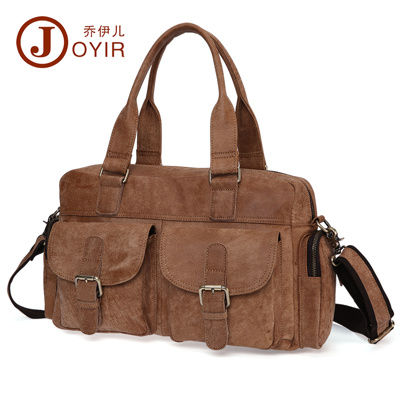 Travel-Bag Nubuck-Cow-Leather Handbags Vintage Casual Men Natural Men's 100%Guarantee