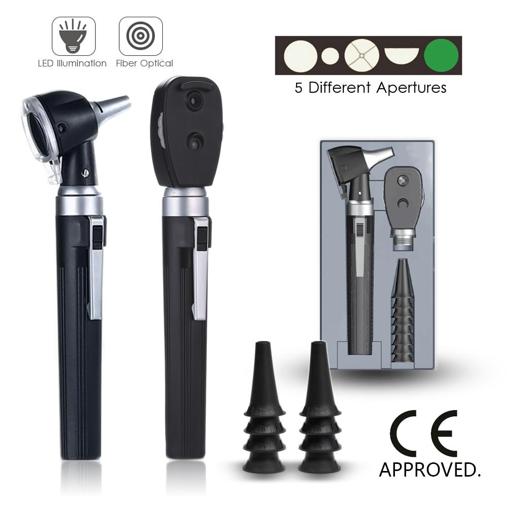 Medical CE Professional ENT Diagnostic Kit Portable Endoscope Opthalmoscope LED Otoscopio Direct Fiber Otoscope Ophthalmoscope