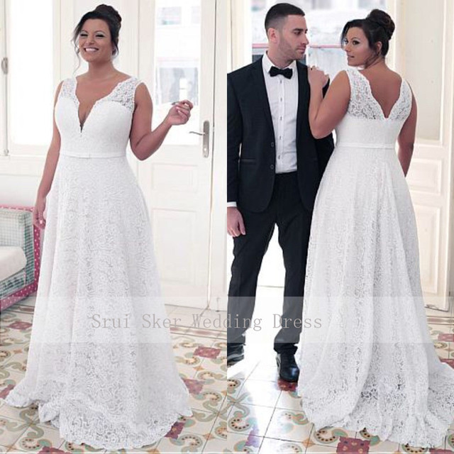 Fashionable V Neck Lace Plus Size Wedding Dress A Line Floor Length white ivory vestido de noiva brides dress ball gown