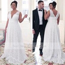אופנתי V צוואר תחרה בתוספת גודל חתונה שמלת אונליין רצפת אורך לבן שנהב vestido דה noiva כלות שמלת כדור שמלה