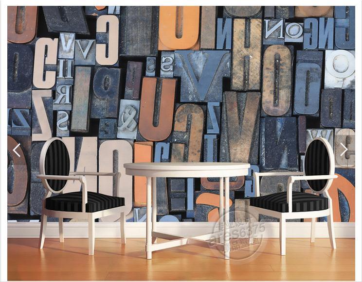 Personnalisé photo papier peint 3d peintures murales papier peint 3 d TV réglage mur sculpture sur bois anglais alphabet TV fond peinture murale