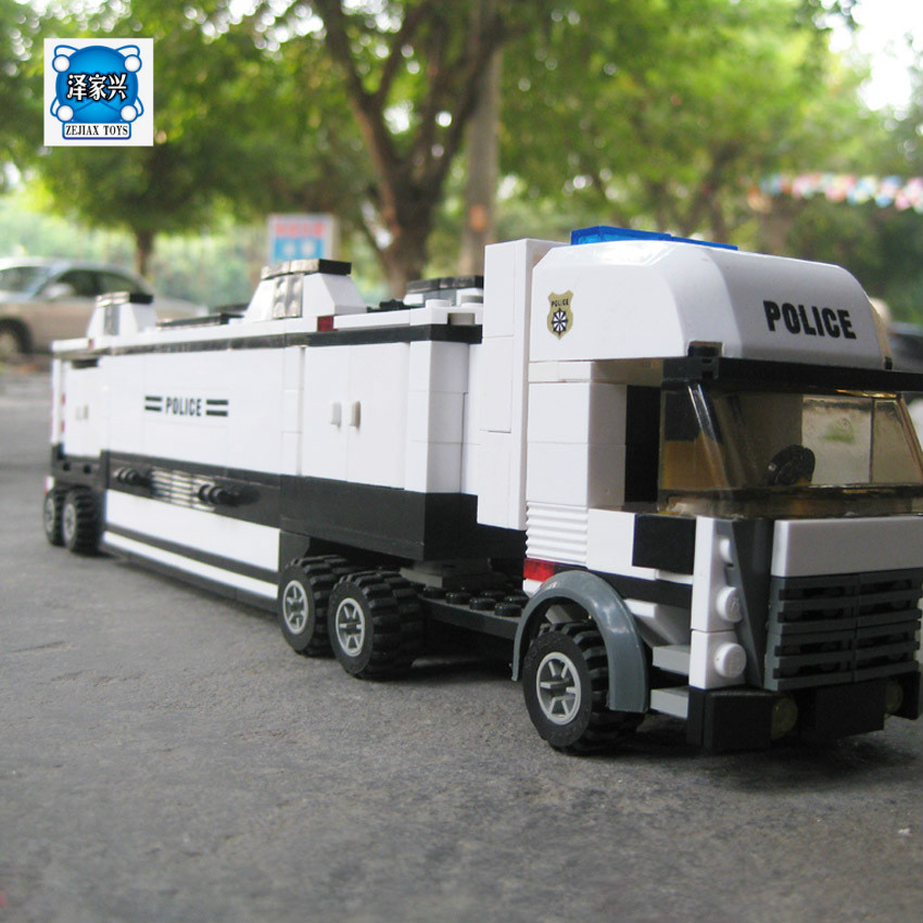 Model Building Kit Compatible with Lepins City Police Station Truck 3D Block Educational Model Building Figures Toy for Children jie star police pickup truck 3 kinds deformations city police building block toys for children boys diy police block toy 20026