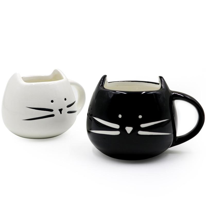 Novelty Cute Cat Ceramic Cup Black and White Cat Mug Milk Coffee Tea Cup Gift Office cat mug