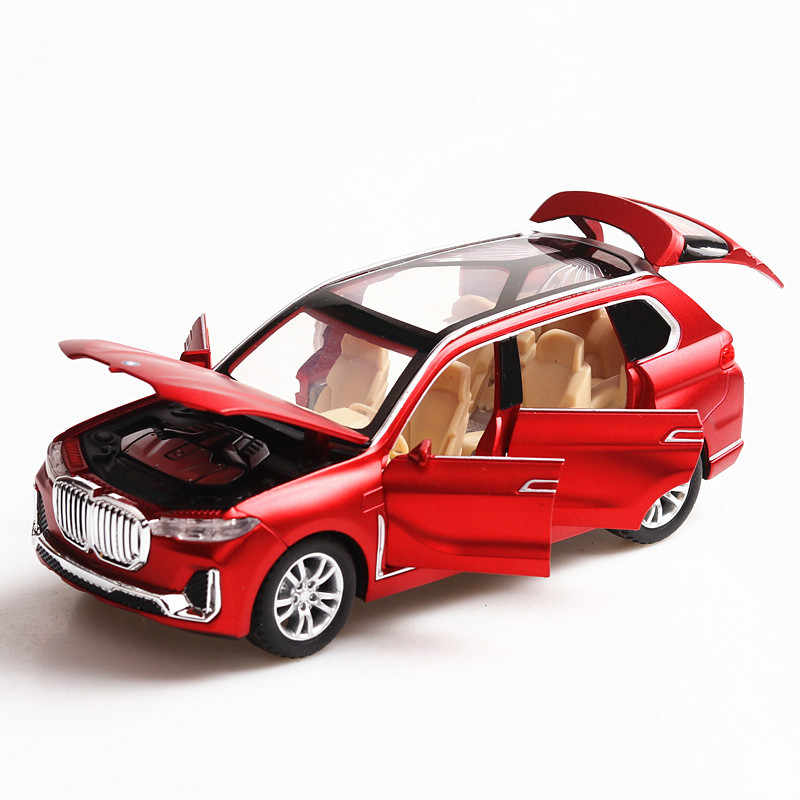 1:32 BMW X7 Sound and light belt pull-back vehicle simulation alloy car model crafts decoration collection toy tools