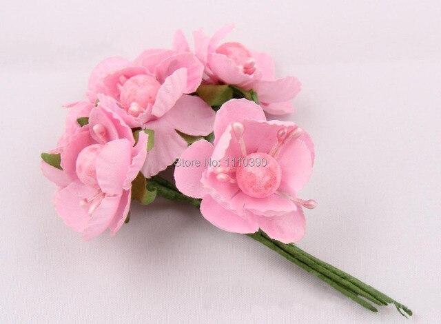 2 3cm Artificial Cherry Blossoms Flowers Silk Blossom Bouquet For Diy Flower
