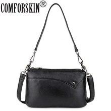 COMFORSKIN Three Zipper Lining Handbags Premium 100% Genuine Leather Travelling Shoulder Bag Large Capacity Ladies Messenger