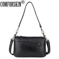 COMFORSKIN Three Zipper Lining Handbags Premium 100% Genuine Leather Travelling Shoulder Bag Large Capacity Ladies Messenger Bag