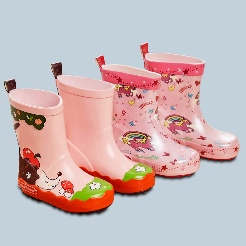 цена Kids Spring Autumn Girl Rubber Shoe Kid Brand Waterproof Rain Boot Baby Girl Fashion Rainbow Cartoon Printing Boot Rain Shoes