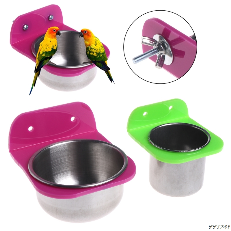 Stainless Steel Food Water Bowl Bird Feeder For Crates Cages Coop Dog Parrot Pet-W110