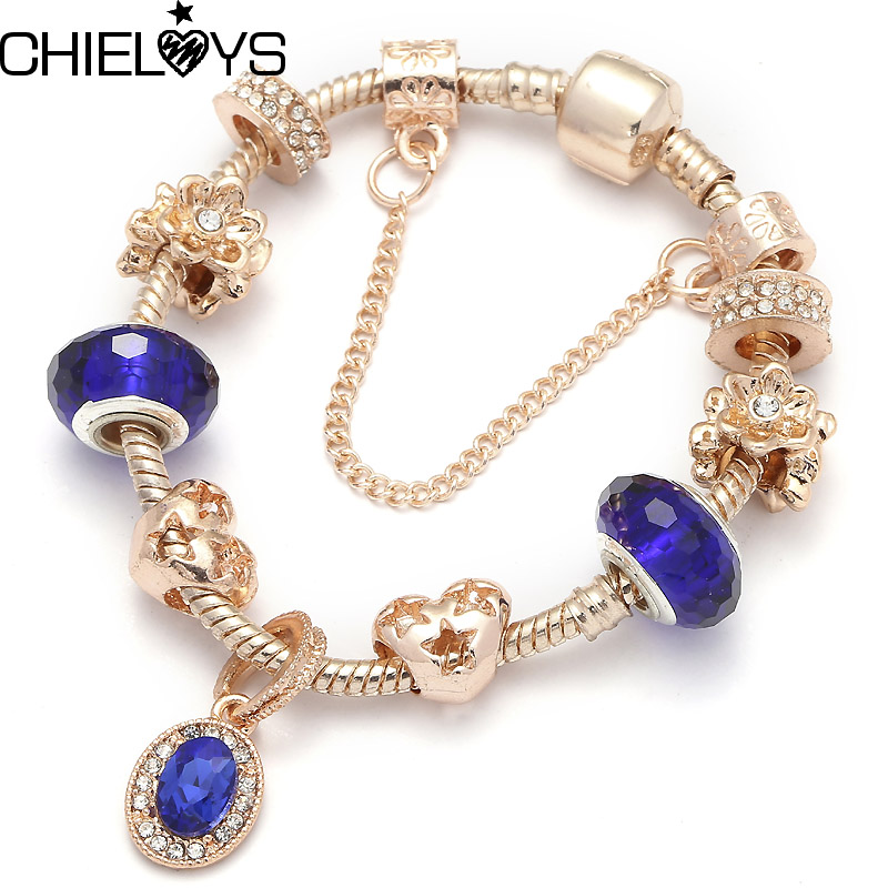 CHIELOYS Rose Gold Snake Chain And Blue Murano Crytals Beads European Charm Bracelets Pandora Bracelet For Women Gift BA133