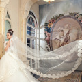 Wedding Veil Bridal Hand Veils Cathedral Veil Ivory/White Color Lace Women Wedding veu de noiva longo cathedral wedding veil