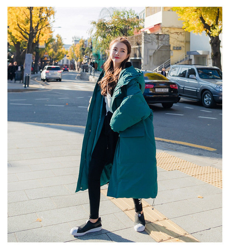 Female long section winter new cotton jacket loose down coat student jacket цена