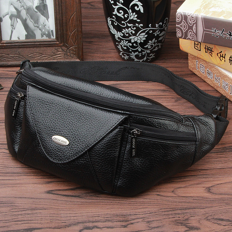 cheer soul genuine leather men's multifunction travel bags funny chest pack men waist pack hiqh quality men waist bag #220 cheer