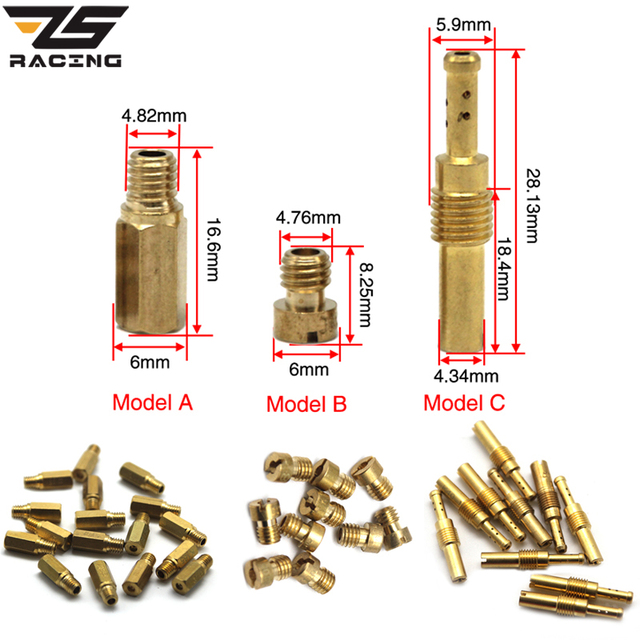 ZS Racing 10pcs Set Slow/Pilot Jet Or 10pcs Main Jet For PWK Keihin OKO CVK Mikuni KOSO Motorcycle Carburetor Vice injectors