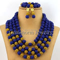 Amazing Navy Blue Nigerian Wedding Coral Beads Jewelry Set Handmade Carved Coral Bridal Jewelry Set 2017 Free Shipping CNR006