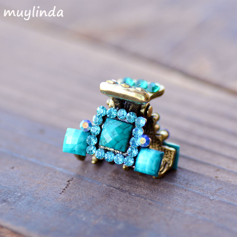Rhinestone Hair Jewelry Simple Geometry Small Hair Claw Clip Mini Retro Antique Bronze Metallic Hair Accessories