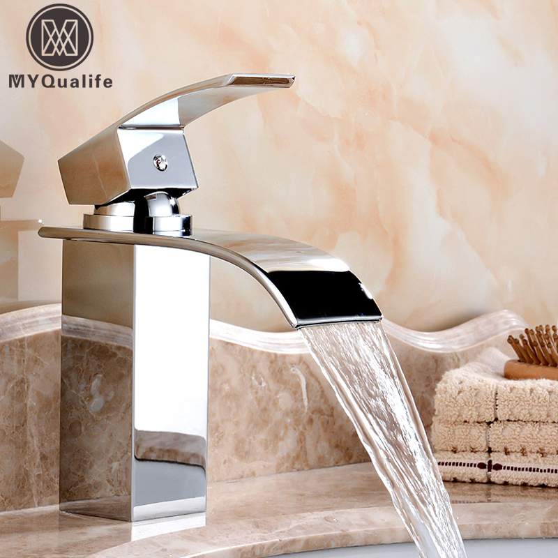Deck Mount Brass Waterfall Bathroom Basin Faucet Vanity Vessel Sinks Mixer Tap For Deck Water Tap