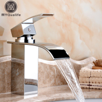 Deck Mount Brass Waterfall Bathroom Basin Faucet Vanity Vessel Sinks Mixer Tap For Deck Water Tap