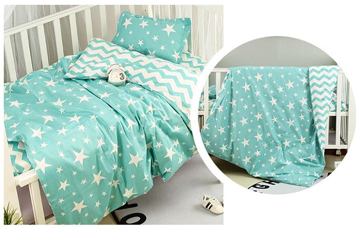 With Filling Mint Green Baby Bedding Set Pure Cotton Cartoon Crib Bed Linen For Children ,Duvet /Sheet/PillowWith Filling Mint Green Baby Bedding Set Pure Cotton Cartoon Crib Bed Linen For Children ,Duvet /Sheet/Pillow