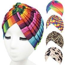 e7550e53b9 11 Estate di Colore Bandane Delle Donne Musulmane Stretch Turbante Headwear  Lady Chemio Ordito Capelli Beanie