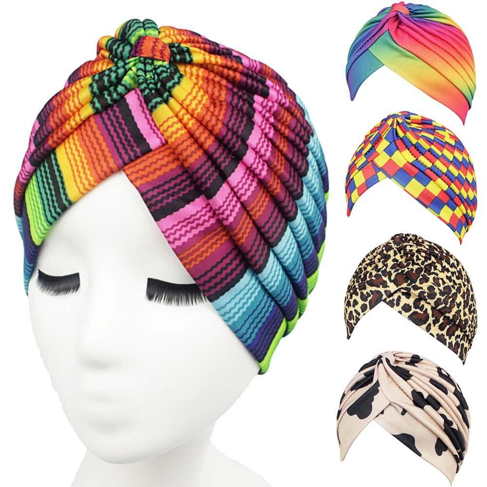 11Color Summer Bandanas Women Muslim Stretch Turban   Headwear   Lady Chemo Hair Warp Beanie Headcover Hijib Headband Exercise Jun27