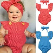 2019 Baby Girl summer clothing Blue red Dot Ruffle Sleeveless Romper Jumpsuit Headband for Kid clothes toddler Children newborn