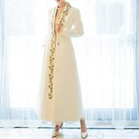 Long Wool Coat Elegant Winter Woman Wool Coats Wool coat female new over the knee Slim waist thick long cashmere coat white