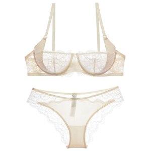 Image 5 - Varsbaby Sexy Ultra Dünne Spitze Halbe Tasse Transparent Und Komfortable Mädchen Bh Sets