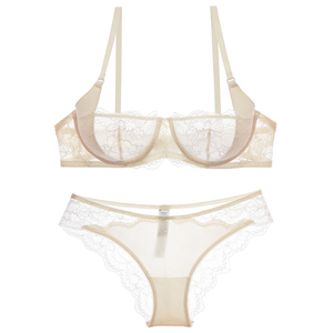 Image 5 - Varsbaby Sexy Ultra Thin Lace Half Cup Transparent And Comfortable Girls Bra Sets
