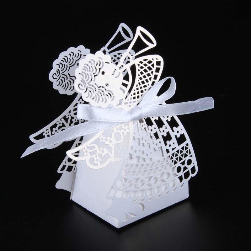 50 шт. свадебные коробки для конфет с рисунком из мультфильма, подарочные коробки для сладостей с лентой, вечерние украшения, товары для свадьбы, дня рождения, праздника - Цвет: White